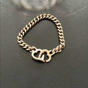 Sterling Silver 925 Interlocking Heart Bracelet